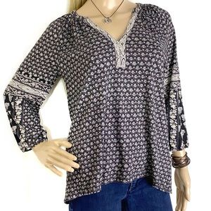 Lucky Brand 3/4 Sleeve V Neck Top Size XS